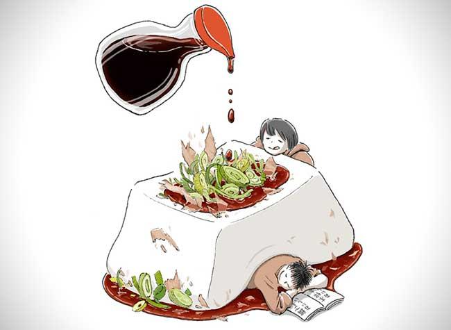 illustrations nourriture reve maruimichi 2 - Ces Illustrations Surréalistes Mêlent Nourriture et Scènes Quotidiennes