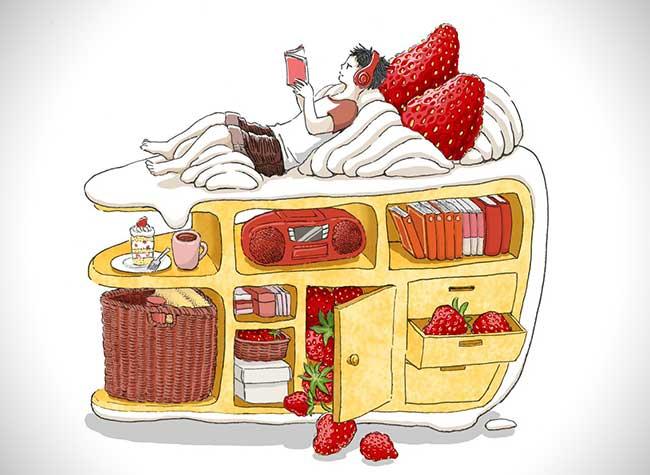illustrations nourriture reve maruimichi 5 - Ces Illustrations Surréalistes Mêlent Nourriture et Scènes Quotidiennes