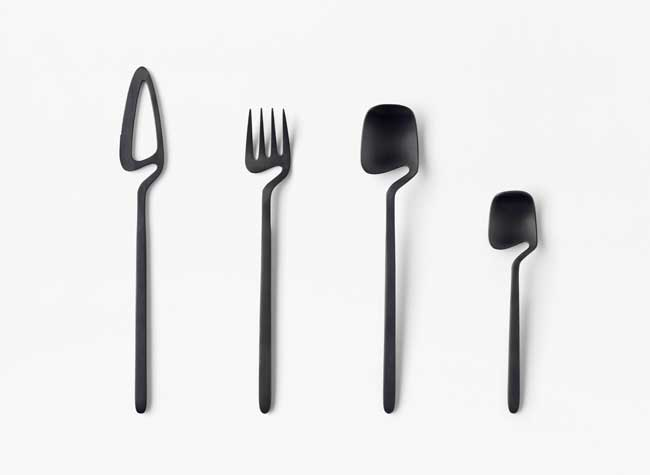 nendo skeleton couverts couteau fourchettes cuillere, Couverts de Table au Design Minimaliste et Accrocheur