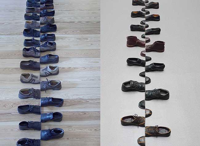 sakir gokcebag installation art chaussures sculptures, Chaussures Usagées en Installation d'Art Géométrique