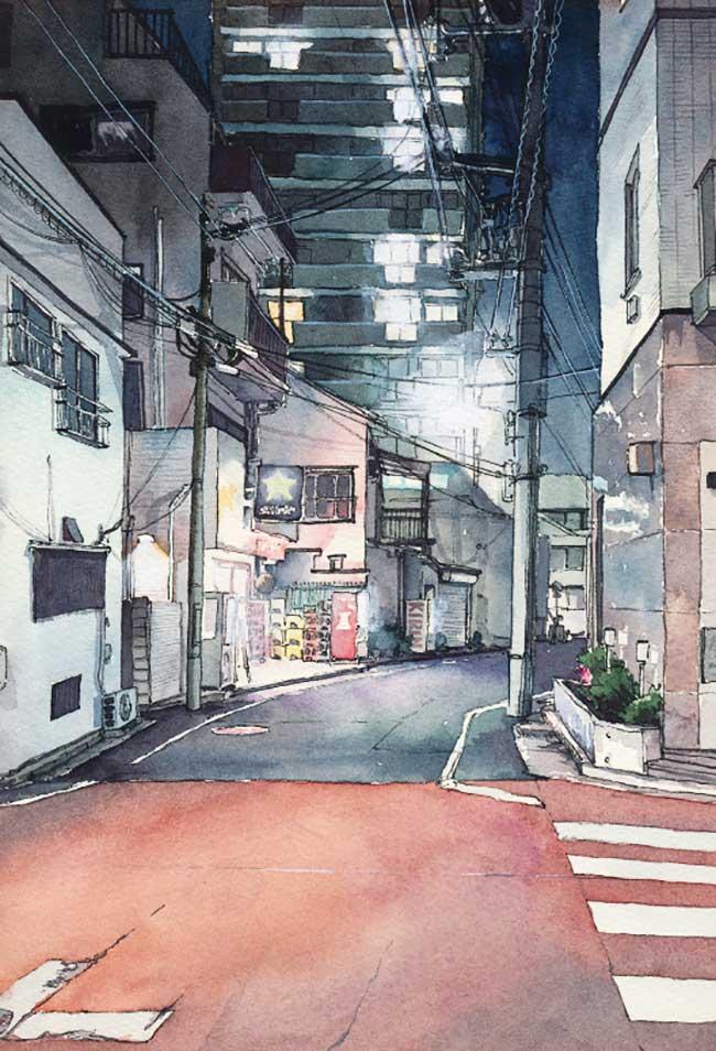 tokyo-aquarelle-mateusz-urbanowicz, Le Charme des Rues de Tokyo la Nuit en Aquarelle