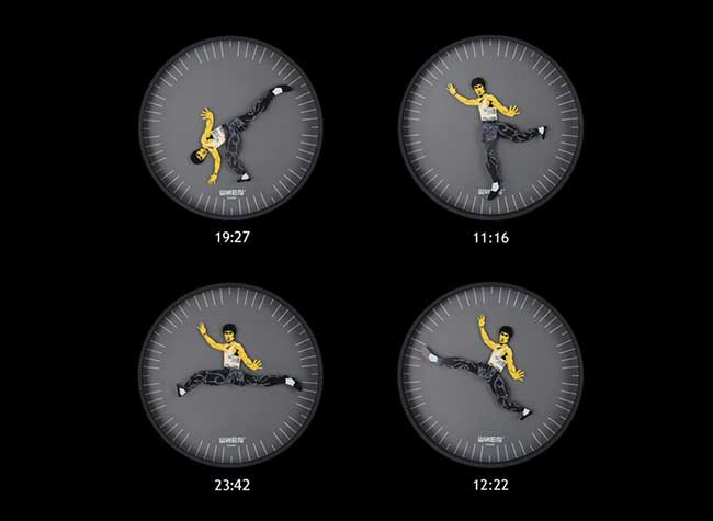 whenwatch kung fu clock horloge murale bruce lee