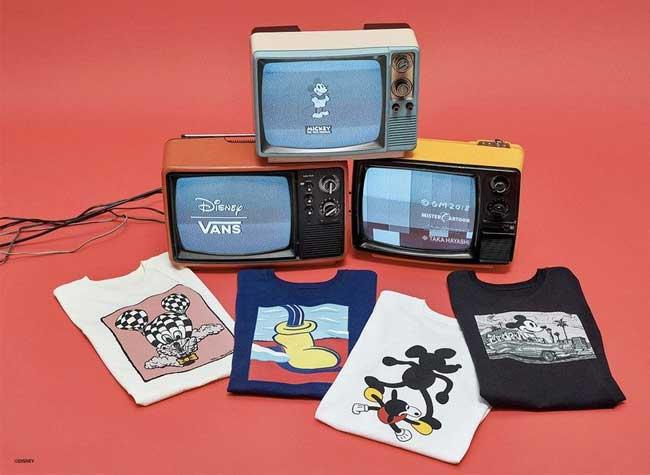collection capsule vans disney anniversaire mickey mouse, Baskets et t-shirts Vans x Mickey par 4 Artistes de Renom