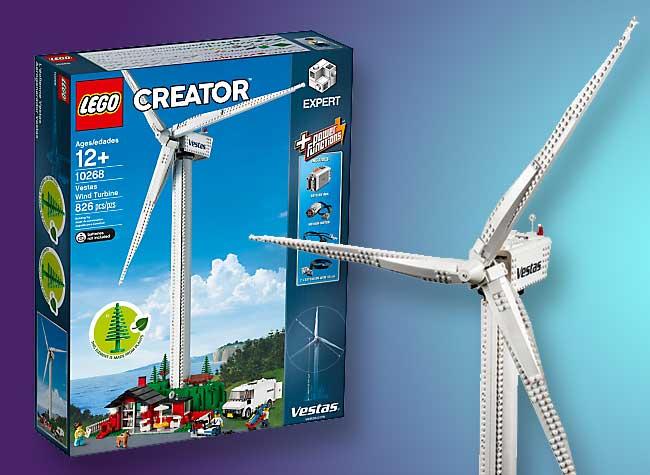, Eolienne Vestas Fabriquée avec des Lego en Plastique Végétal