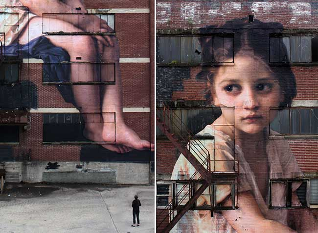 outings project street art peinture classique julien de casabianca, Une Toile de William Bouguereau sur un Immeuble de 7 Etages