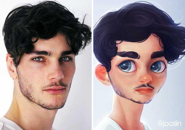 portraits personnages dessins animes joaslin, Elle Transforme votre Portrait Photo  en Personnage de Film d'Animation