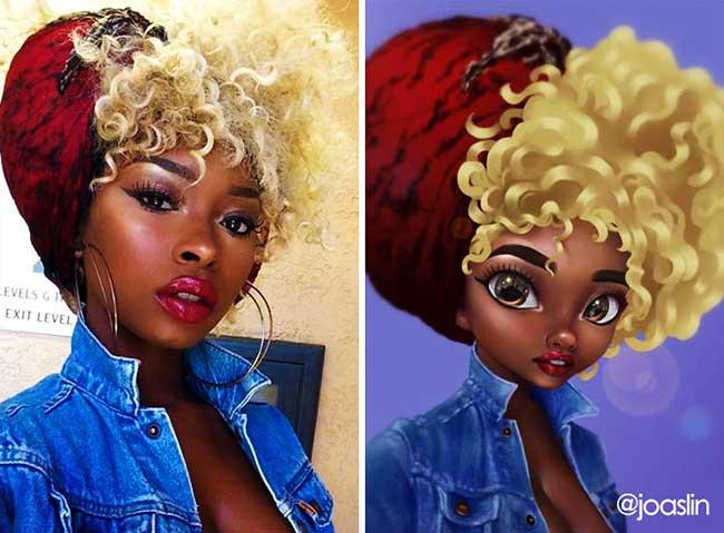 portraits personnages dessins animes joaslin 4 - Elle Transforme votre Portrait Photo  en Personnage de Film d'Animation
