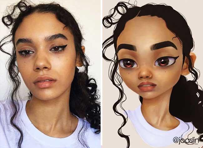 portraits personnages dessins animes joaslin 9 - Elle Transforme votre Portrait Photo  en Personnage de Film d'Animation
