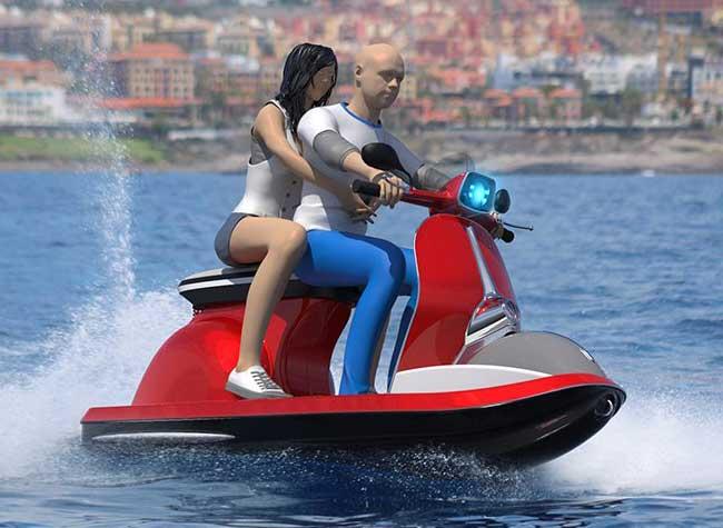 scooter vespa jet ski aquatique pierpaolo lazzarini