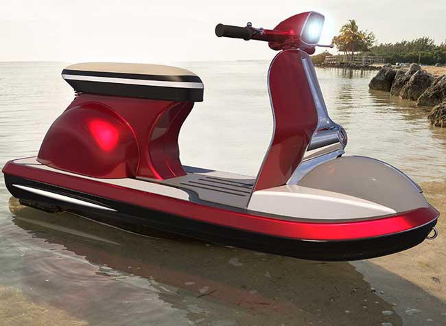 scooter vespa jet ski aquatique pierpaolo lazzarini, Retour de l'Iconique Scooter Vespa en Version Jet Ski (video)