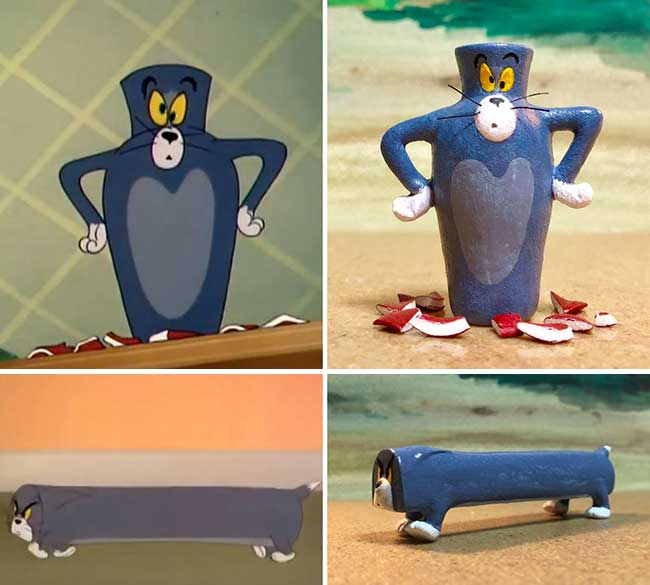 sculpture tom jerry drole scene dessin anime 3 - Il Transforme les Scènes Cultes de Tom et Jerry en Sculptures
