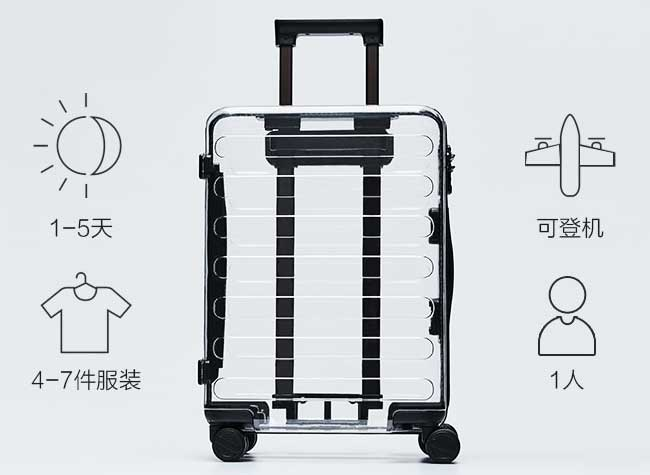 valise transparente xiaomi runmi clone rimowa off white, Xiaomi Clone la Valise Transparente Off-White de Rimowa