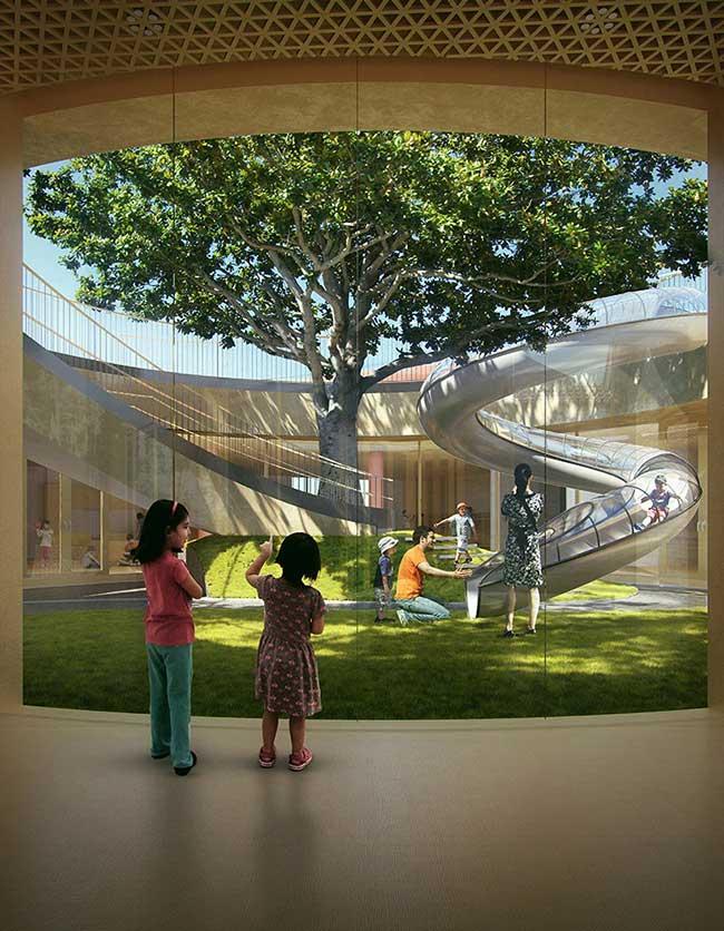 , Une Ancienne Cour Transformée en Ecole Maternelle avec son Toit Flottant en Chine