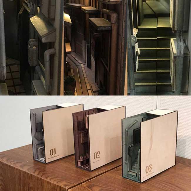 , Ces Ruelles de Tokyo Cachées dans des Serre-Livres en Bois