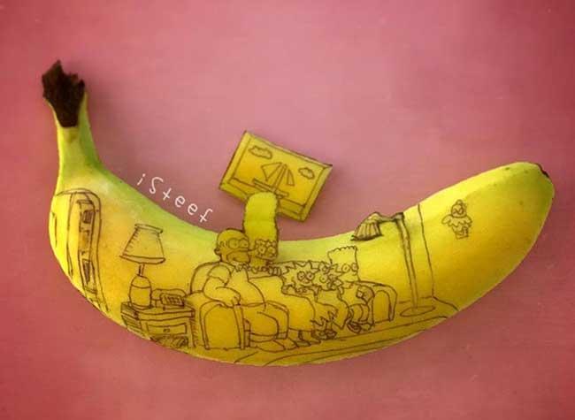 imicro lentille microscope puissante smartphone iphone, Amusantes Illustrations Sculptées sur des Bananes
