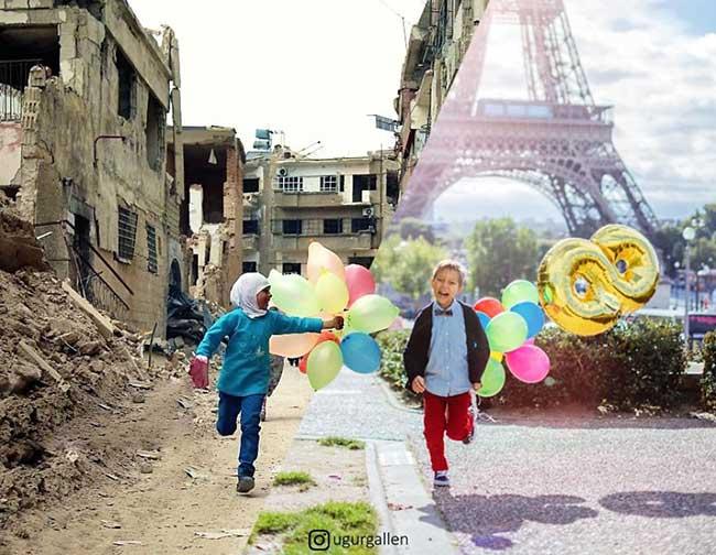 ugur gallen mashup photo guerre paix orient occident 1 - Déchirants Photomontages d'un Monde Divisé en Deux