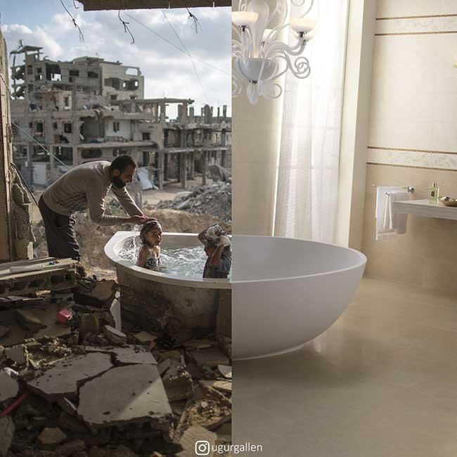 ugur gallen mashup photo guerre paix orient occident 3 - Déchirants Photomontages d'un Monde Divisé en Deux