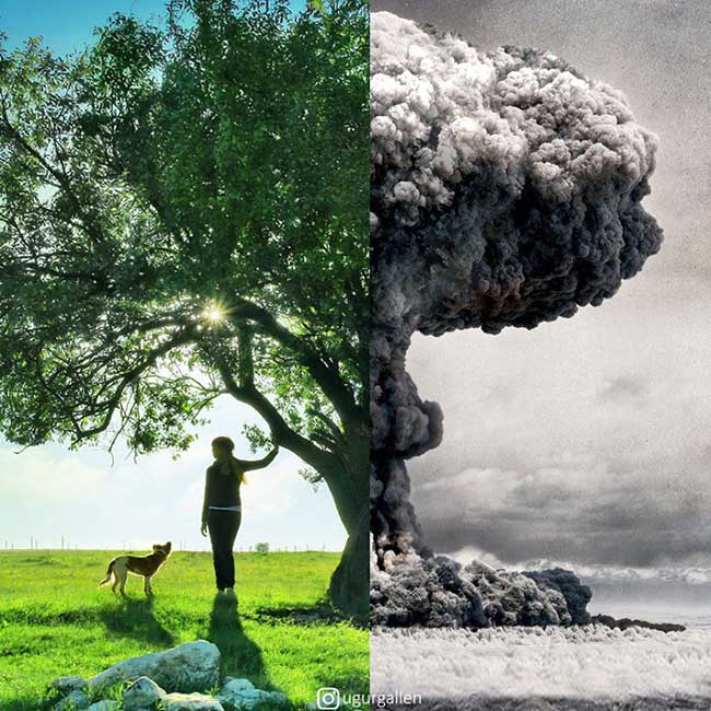 ugur gallen mashup photo guerre paix orient occident 4 - Déchirants Photomontages d'un Monde Divisé en Deux