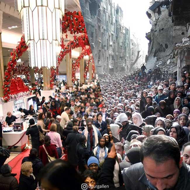 ugur gallen mashup photo guerre paix orient occident 6 - Déchirants Photomontages d'un Monde Divisé en Deux