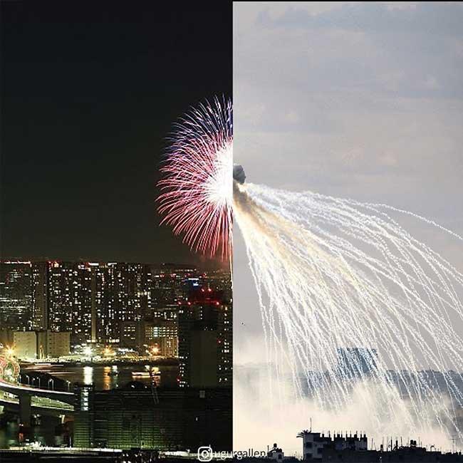 ugur gallen mashup photo guerre paix orient occident 7 - Déchirants Photomontages d'un Monde Divisé en Deux