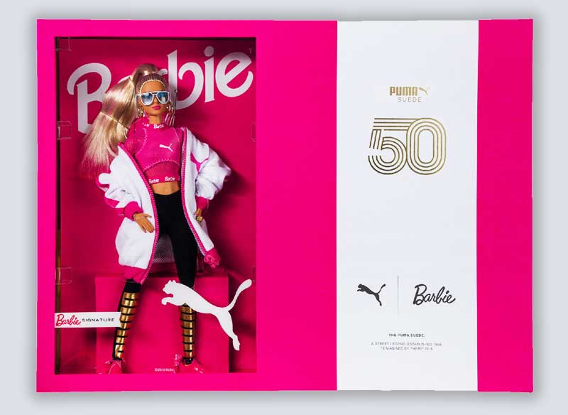 baskets daim suede barbie rose noire prix 2 - La Poupée Barbie se Met au Sport avec PUMA (video)