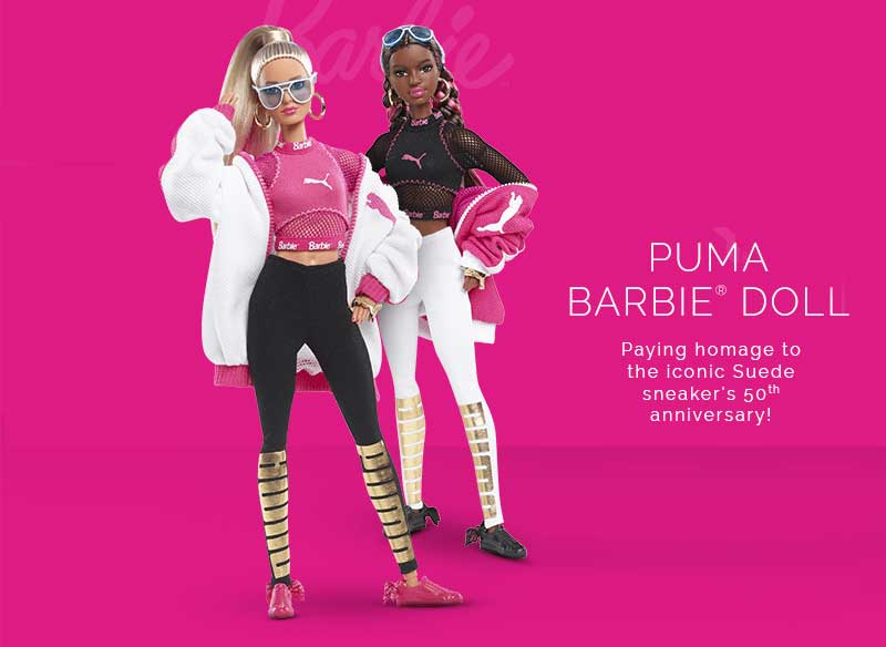 baskets daim suede barbie rose noire prix 3 - La Poupée Barbie se Met au Sport avec PUMA (video)