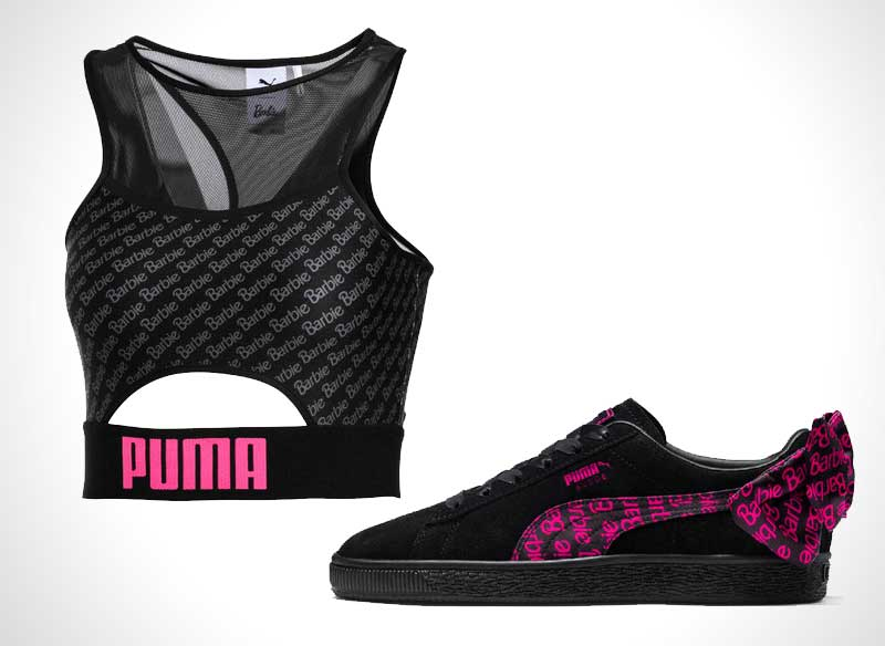 baskets daim suede barbie rose noire prix 8 - La Poupée Barbie se Met au Sport avec PUMA (video)