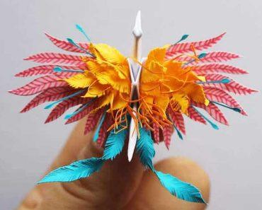 cristian marianciuc papier oiseau grue origami 2 370x297 - Il Façonne des Grues en Papier aux Plumes Incroyables
