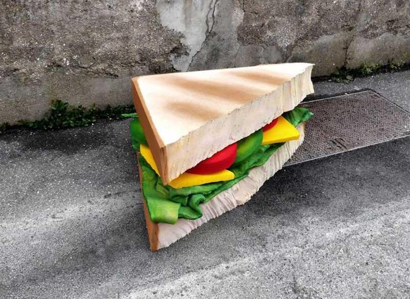 street art recyclage matelas Lor k, Elle Transforme les Matelas Abandonnés en Nourritures Géantes (video)