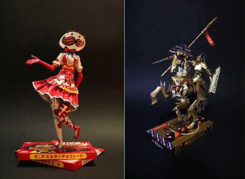 Qing Ji art recyclage, Ces Emballages Recyclés en Personnages vont vous Emballer
