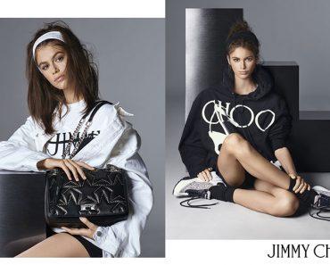 campagne jimmy choo baskets chaussures ete 2019 2 370x297 - Kaia Gerber, Egérie Jimmy Choo Chic et Sportive de l'Eté 2019