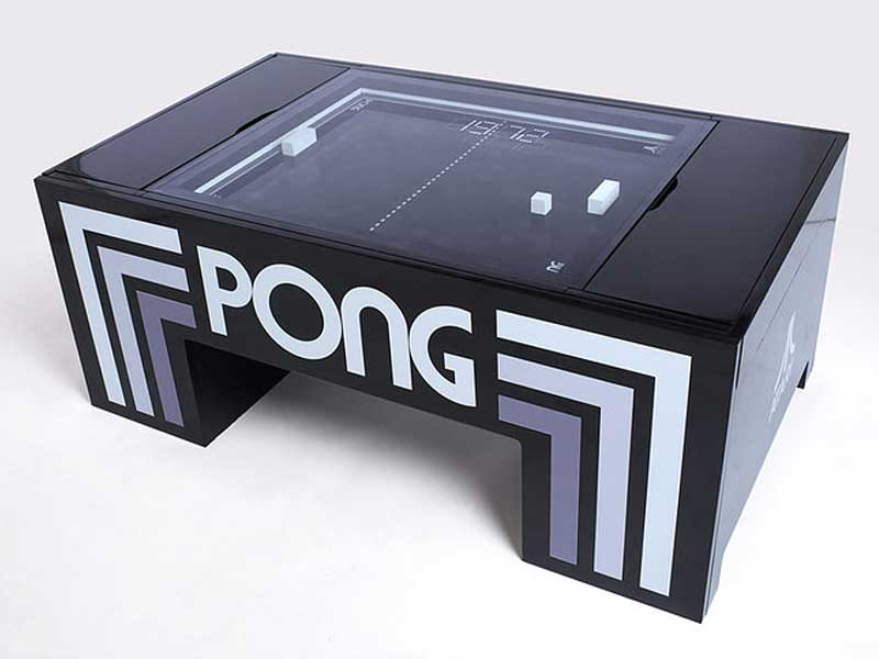 Atari Pong table, Jeu de PONG Mécanique dans la Table Basse de Salon (video)