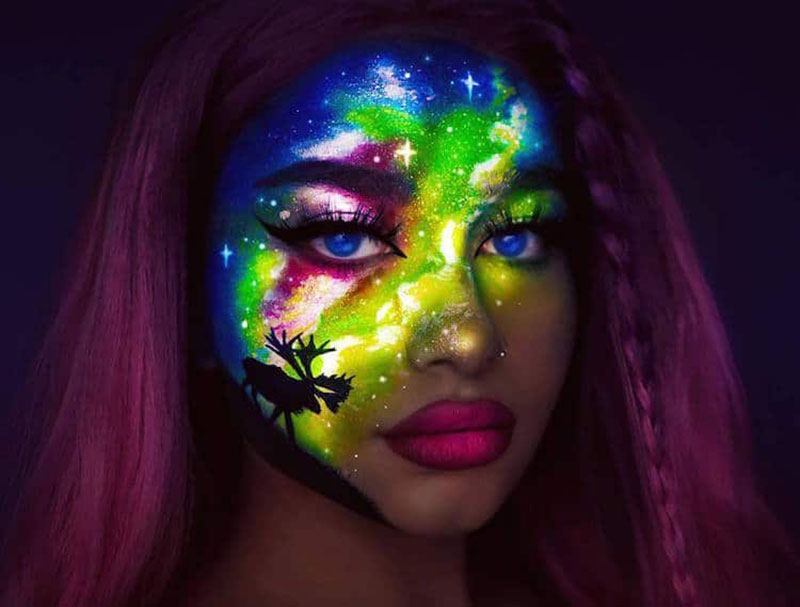 phosphorescent maquillage rita synnove sharma 2 - Ces Maquillages Néon Artistiques ne se Voient que la Nuit