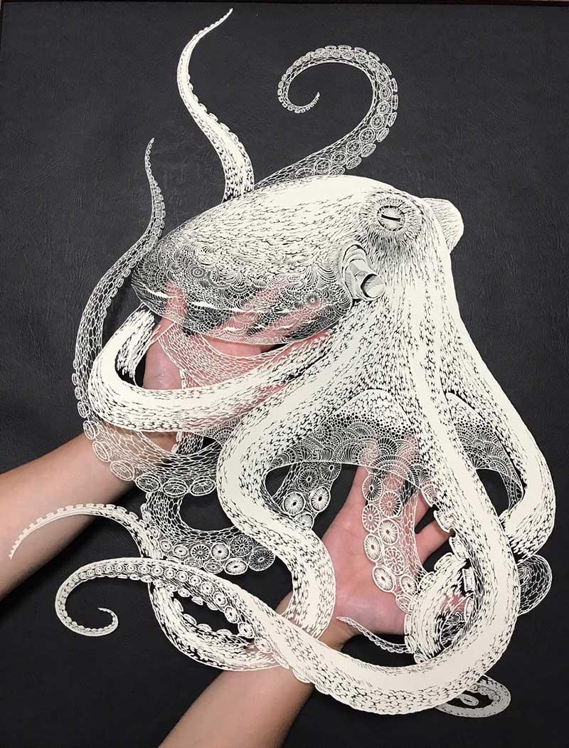 pieuvre octopus sculpture papier kirie masayo fukuda 3 - Saisissante Pieuvre en Dentelle Kirie Découpée dans une Feuille de Papier