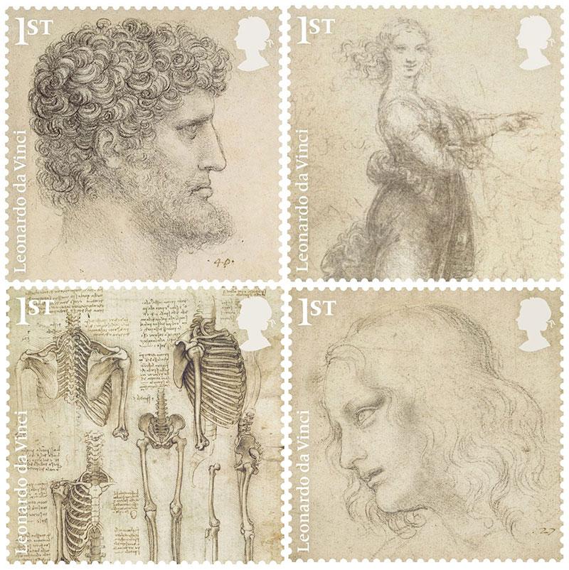 Léonard De Vinci Timbres, Dessins de Léonard De Vinci sur les Timbres Royal Mail