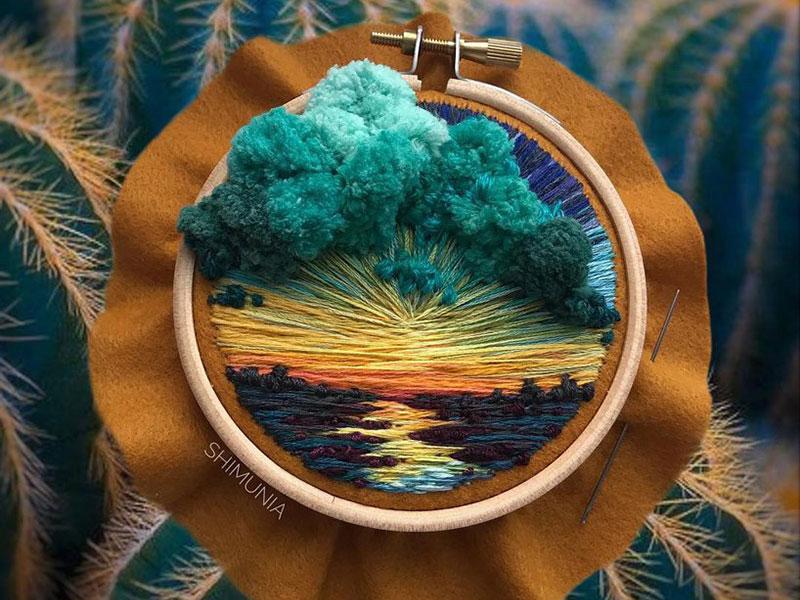 vera shimunia broderie 3d paysages 2 - Broderies de Paysages en 3D qui Sautent aux Yeux