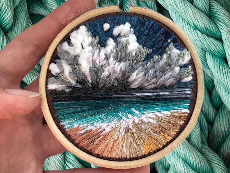 vera shimunia broderie 3d paysages 6 - Broderies de Paysages en 3D qui Sautent aux Yeux