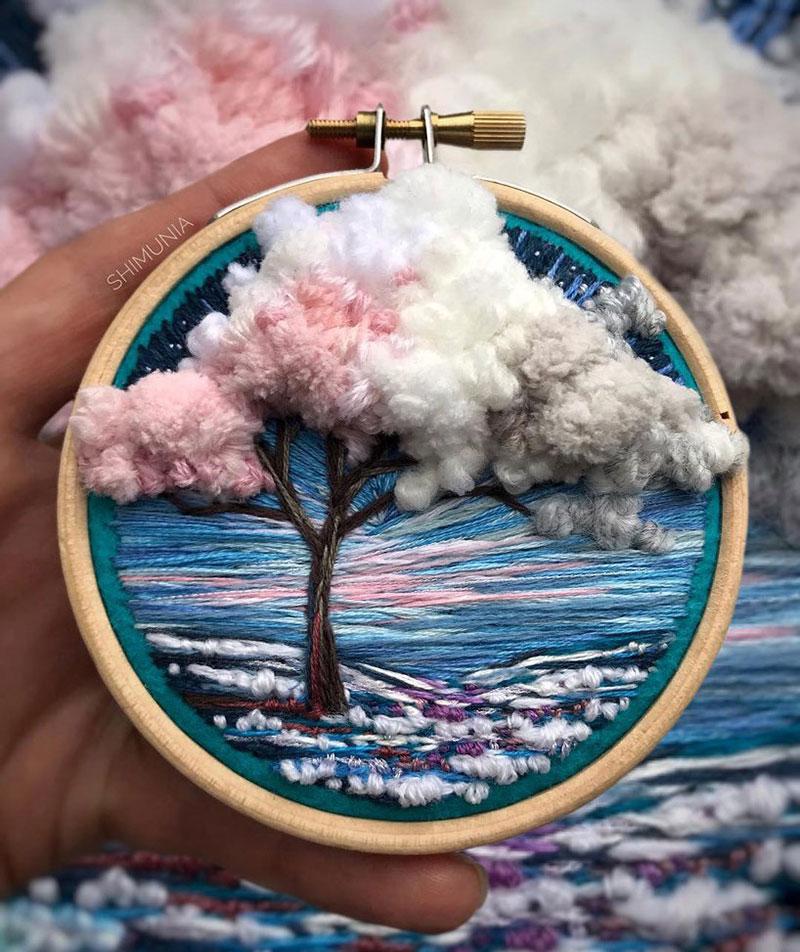 vera shimunia broderie 3d paysages 7 - Broderies de Paysages en 3D qui Sautent aux Yeux