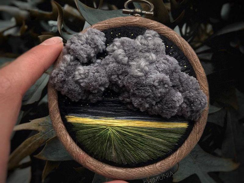 vera shimunia broderie 3d paysages 8 - Broderies de Paysages en 3D qui Sautent aux Yeux