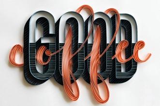 Calligraphie Sculpture Mots Papier 3D Art Alia Bright