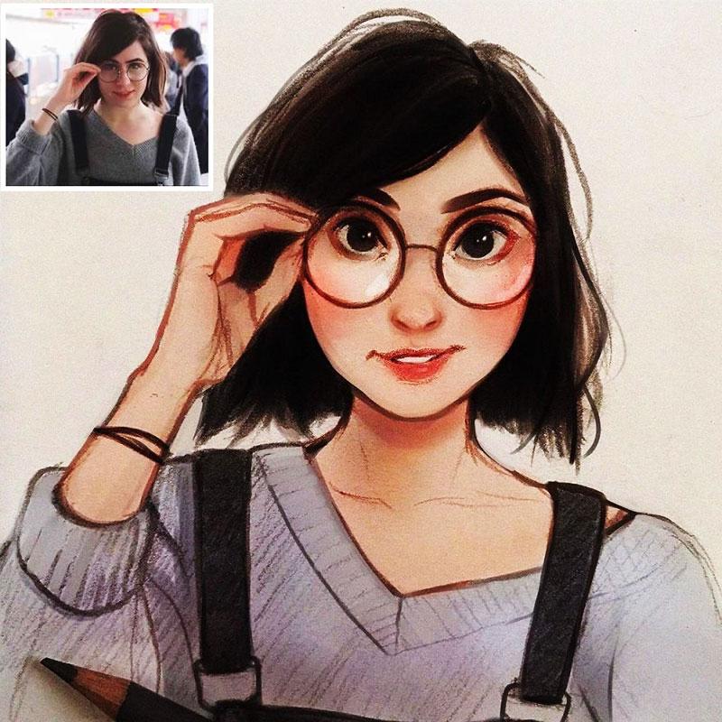 Photo illustrations Laura Brouwers, Elle Dessine votre Photo Portrait en Adorable Personnage de BD