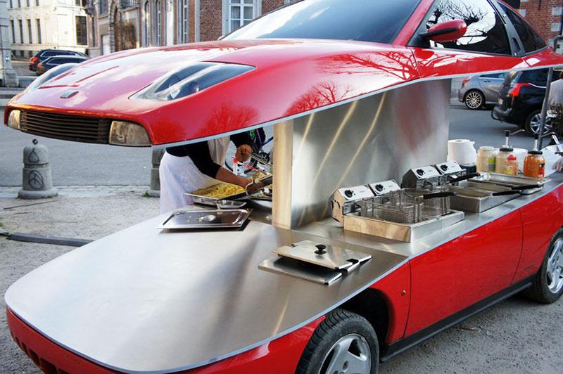 coupe fiat friterie ambulante benedetto bufalino 3 - Il Transforme un Coupé Fiat en Friterie Ambulante