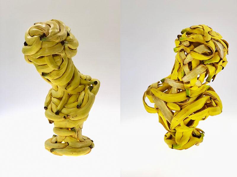 Sculptures Bananes Céramique, Hyper Réalistes Sculptures de Bananes en Céramique