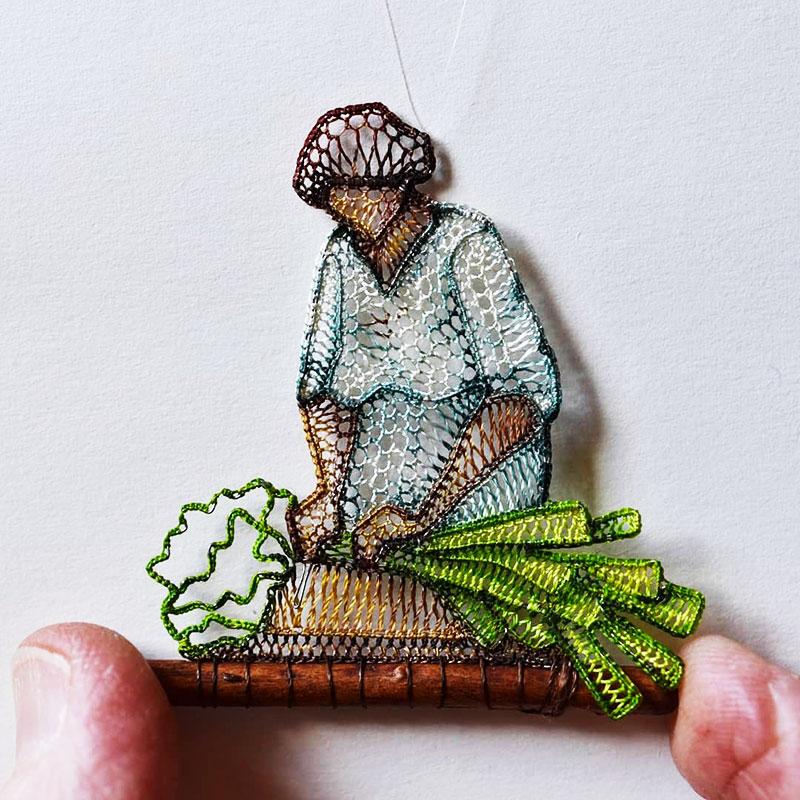 Agnes Herczeg dentelle miniatures, Scènes Miniatures en Dentelle par Agnes Herczeg