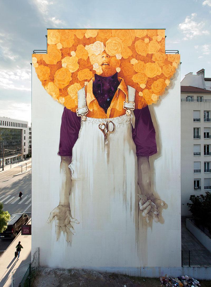fresque murale Lyon, Une Fresque Murale Géante Ensoleille la Ville de Lyon