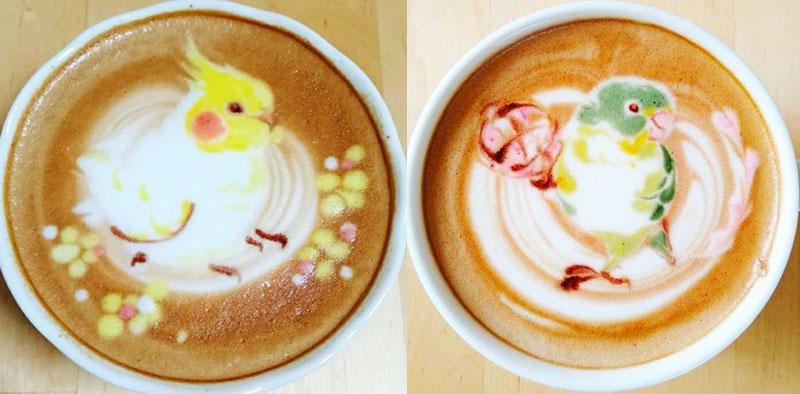 latte art oiseaux dessins cafe lait 2 - L'Art de Dessiner des Oiseaux dans du Café au Lait