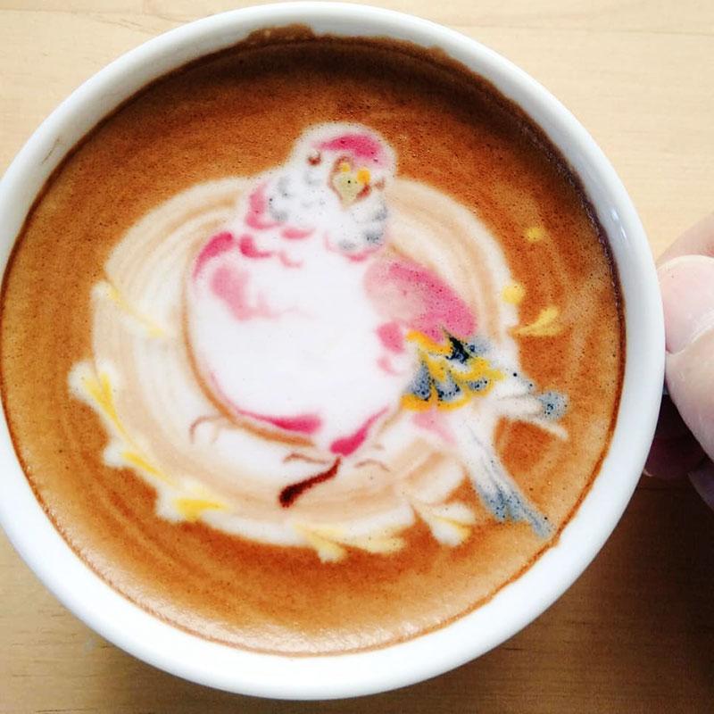 latte art oiseaux dessins cafe lait 4 - L'Art de Dessiner des Oiseaux dans du Café au Lait