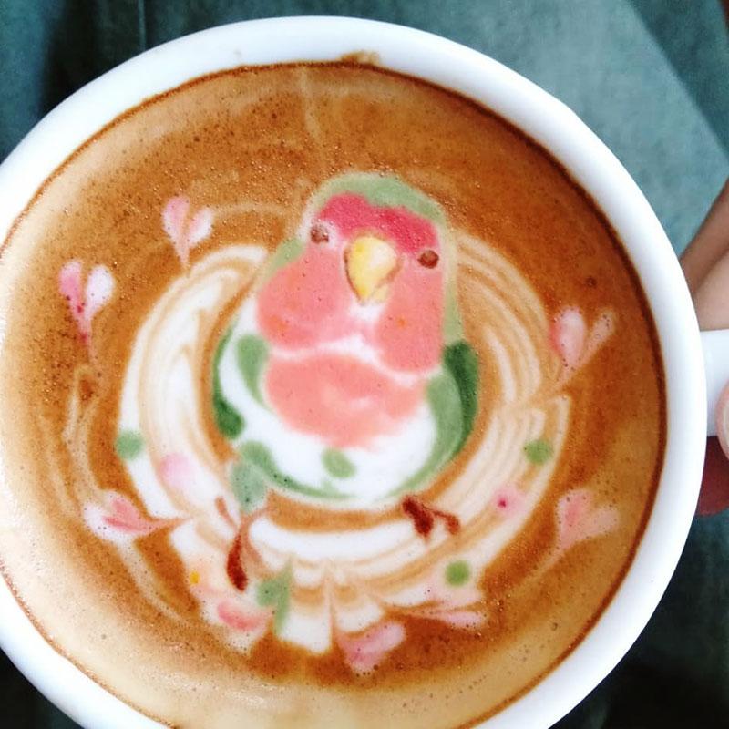 latte art oiseaux dessins cafe lait 6 - L'Art de Dessiner des Oiseaux dans du Café au Lait