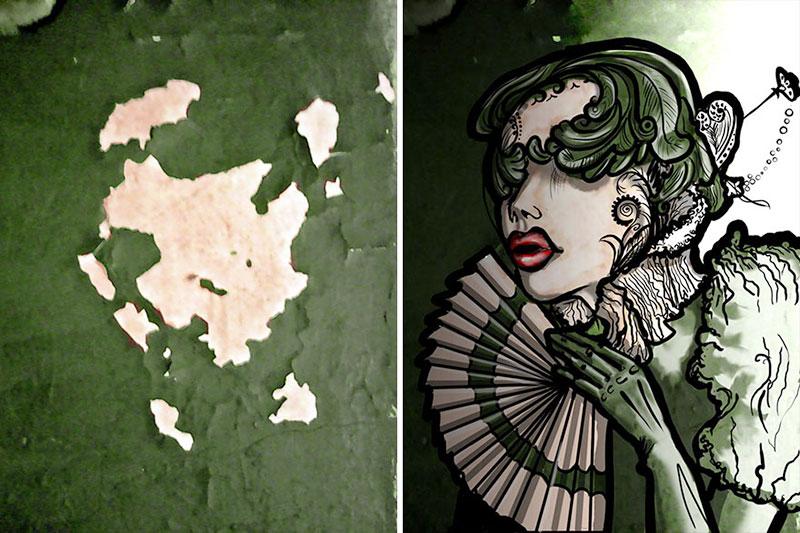 street art pareidolie illusion optique anna chvindt 1 - Cette Artiste Transforme les Murs Décrépis en Oeuvres d'Art