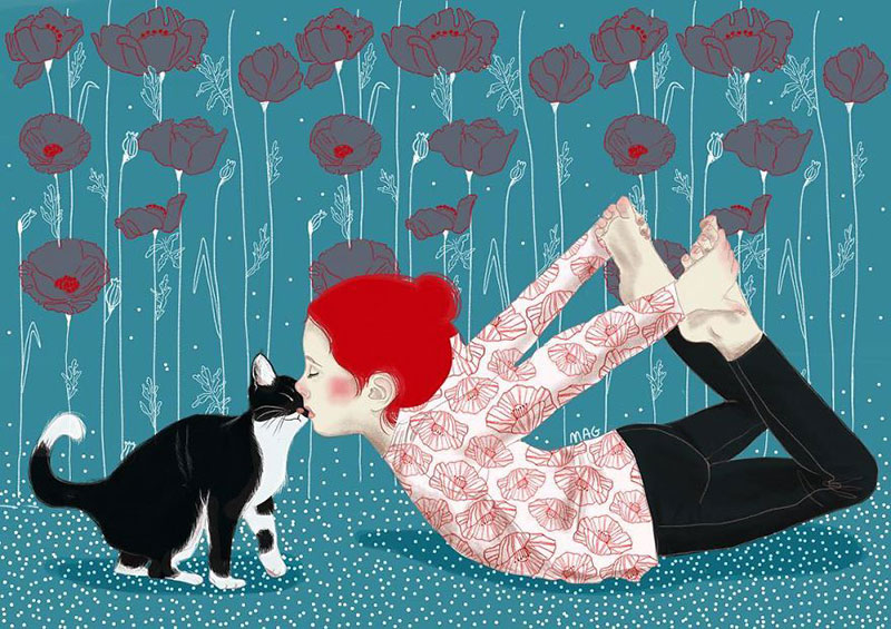 illustrations chats margherita grasso 02 - La Nature Câline des Chats Merveilleusement Illustrée